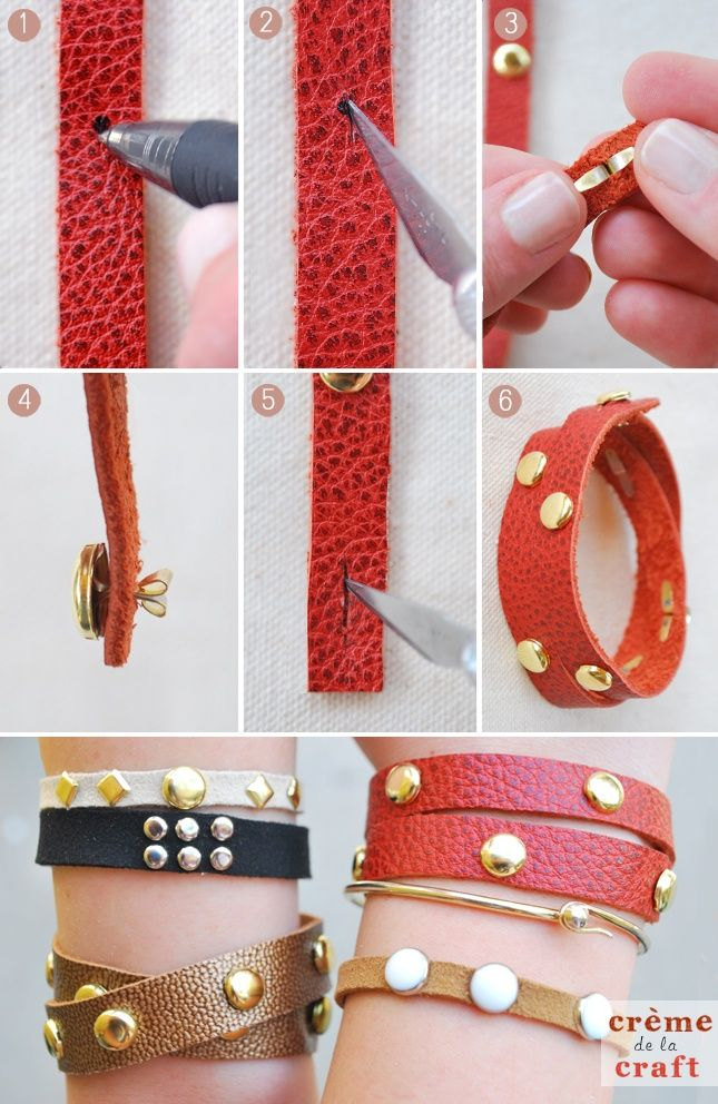 DIY Leather Studded Wrap Bracelet