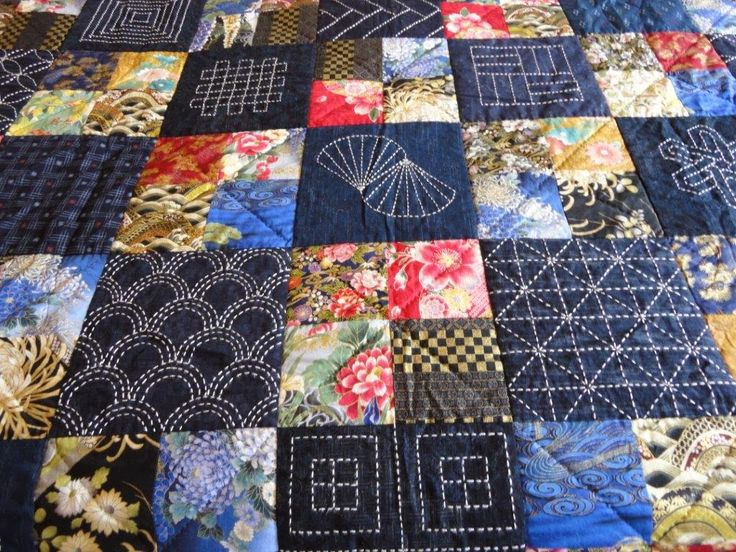 love the idea of alternating four-square and sashiko with the blue, white, and asian print.