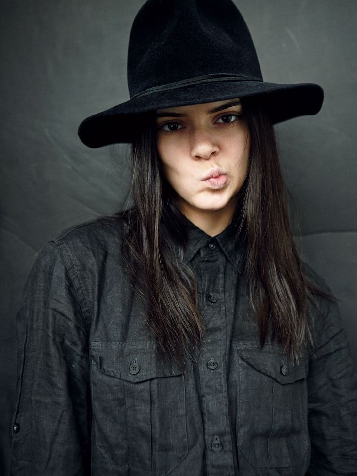 Kendall Jenner in a black wide-brim Clyde hat and a borrowed-from-the-boys button-down J.Crew shirt. Photographed by Felix Wong, Society Management, February 2014.