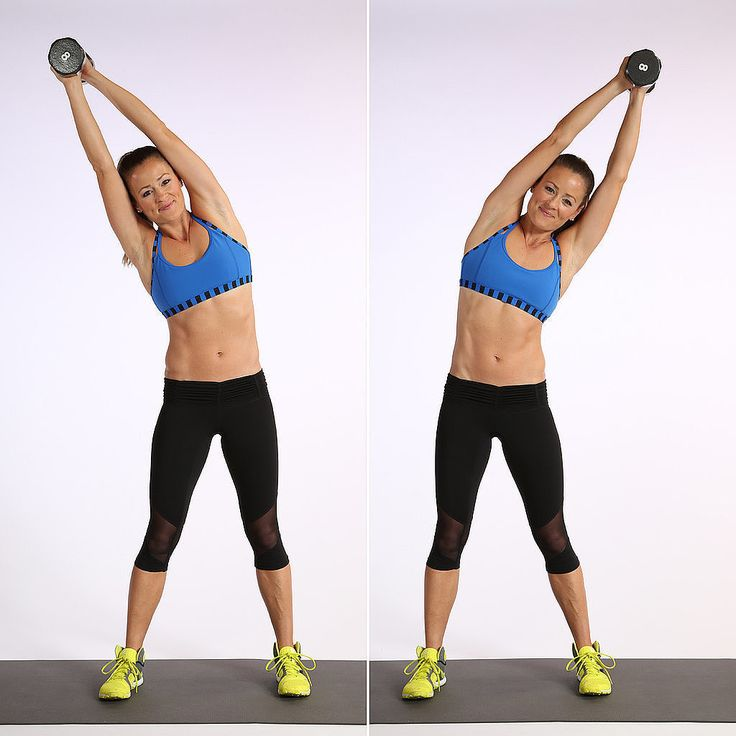 The standing side bend works your obliques, and celeb trainer Harley Pasternak recommends this move to keep the love-handle area tight. We like that it simultaneously stretches one side of your torso while working the other — it feels good.   Stand with your feet a little wider than hip distance apart holding a five- to 10-pound dumbbell over your head. Squeeze your head with your upper arms to fire up your core and protect your neck. Bend sideways to the right, squeezing your waist on the…