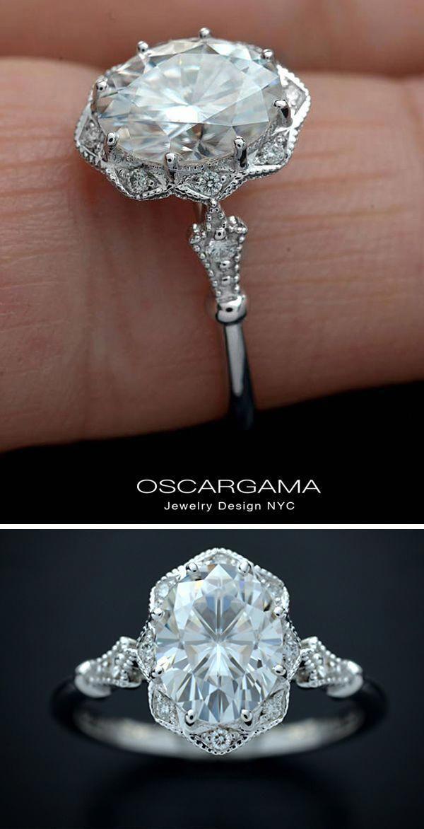 Diamond Wedding Ring Set 14k White Gold Engagement Ring Calla Lily