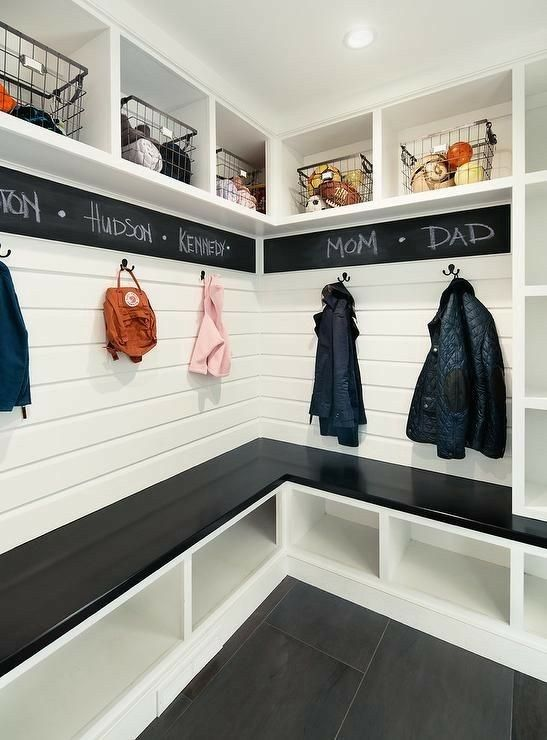 chalkboard in the mudroom // functional and fun contrast to white shiplap