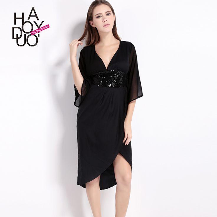 Vagary Deep V Neck High Waist Dresses Womens Sexy Party New Black Half  Sleeve Sequined Bow Waist Cut Out Back Asymmetrical Dress
