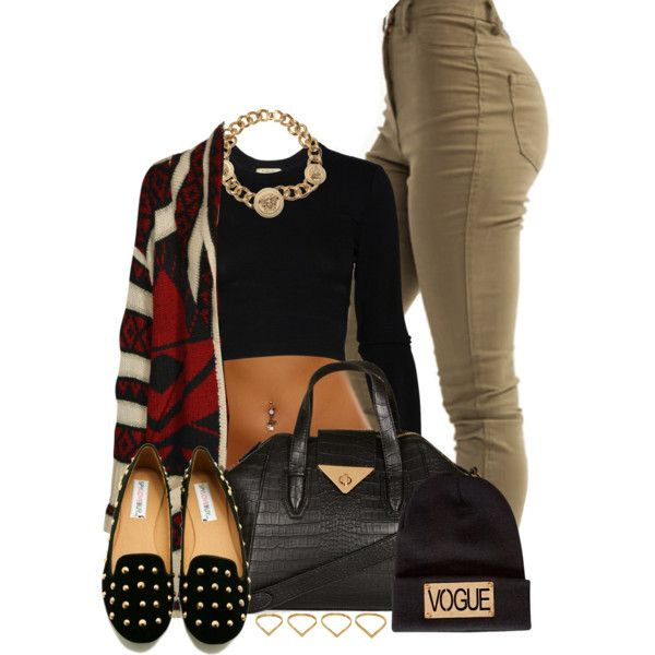 How to Style a Crop top During Winter by annellie on Polyvore featuring polyvore, fashion, style, Torn by Ronny Kobo, Boohoo, Topshop, Versace and Ana Khouri