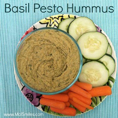 Easy Basil Pesto Hummus