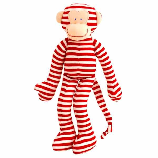 Monkey Toy Rattle - Red Stripe
