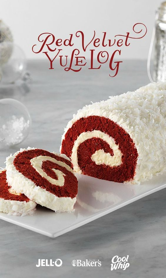 Delightful presentation meets the always-popular red velvet yumminess in this fun cake recipe. Red Velvet Yule Log is a showstopper. Get started with JELL-O Cheesecake Flavor Instant Pudding, COOL WHIP Whipped Topping, BAKER'S ANGEL FLAKE Coconut, Red Velvet Cake Mix, and cream cheese.