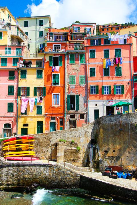 If I painted my house like one of these, people would complain - but this is the norm in Manarola and Riomaggiore, Cinque Terre, Italy.  I like these people!