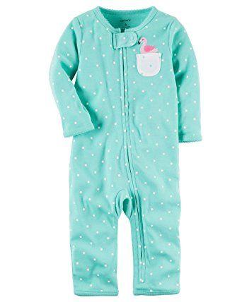 7b215261500b amazon - Carter s Baby Girls  Cotton Snap-Up Footless Sleep   Play ...