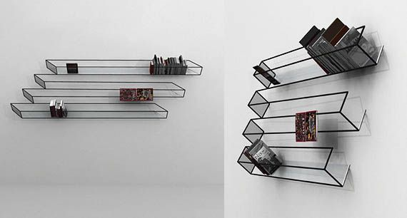 """Designer John Leung created the Bias of Thoughts bookshelf as sort of a 3D blivet or """"impossible object,"""" which normally only gets depicted as a mind boggling drawing. Looking at it straight-on tricks the viewer into seeing a real-life representation of an impossible object, when in truth the shelf is quite real and functional."""