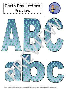 This Earth Day set of clip art letters by Miss Jeans Class includes punctuation, upper and lowercase letters! These work great for educational and craft purposes. Use them for crafts, lesson plans, work sheets, word walls and decorating bulletin boards.#clipartletters, #earthday, #letters, #clipart