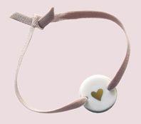 bracelet ruban coeur doré porcelaine  de Natacha Plano