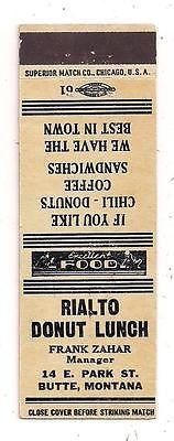 Rialto Donut Lunch 14 E. Park Ave. Butte MT Frank Zahar Matchcover 032615