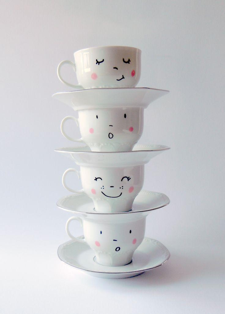 happy faces cute tea cups designs by bodesigns - deborahvandevelde.blogspot.com