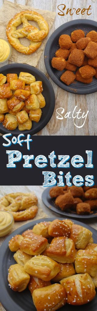 No need to choose a flavor with these, ready in about an hour, Sweet & Salty, Vegan Soft Pretzel Bites. They're also egg, dairy & refined sugar free! Simple and easy to make, kid-friendly, party food that will satisfy you and your guests sweet & salty craving! #vegansnack #veganpretzels #vegan