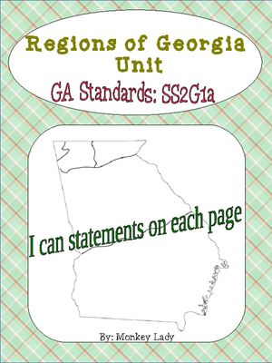 Georgia Regions Unit from Monkey_Lady on TeachersNotebook.com (12 pages)