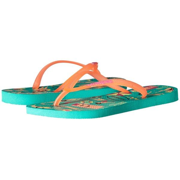 Havaianas Havaianas Slim Cool Flip Flops (Mint Green) Women's Sandals ($23) ❤ liked on Polyvore featuring shoes, sandals, flip flops, mint sandals, padded flip flops, rubber flip flops, cushioned sandals and rubber sandals