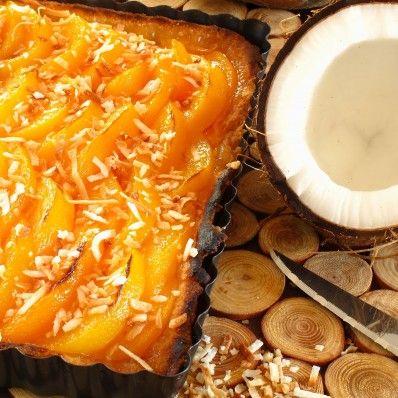 Peach Pie, Coconut Milk and Scotch Custard, toasted Shredded Coconut
