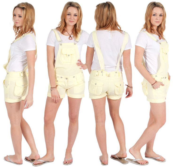 Womens - Dungaree Shorts - Yellow | Clearance