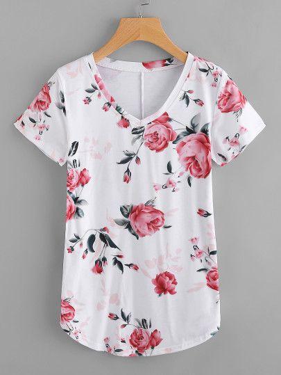 Camiseta con escote en V con estampado floral