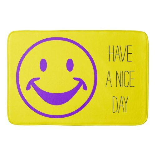 Funny Smiley purple + your background & ideas Bath Mat