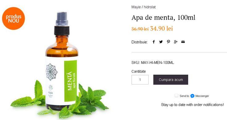 Apa de menta Mayie (denumita si hidrolat de menta - spearmint) este un produs secundar, 100% natural, rezultat in procesul distilarii frunzelor si tulpinilor de mentha spicata.