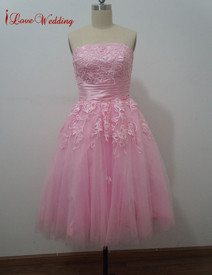 >> Click to Buy << iLoveWedding New Hot Pink Short Homecoming Dresses Tulle Girl Cocktail Party Dress Strapless Vestido De Festal With Appliques #Affiliate