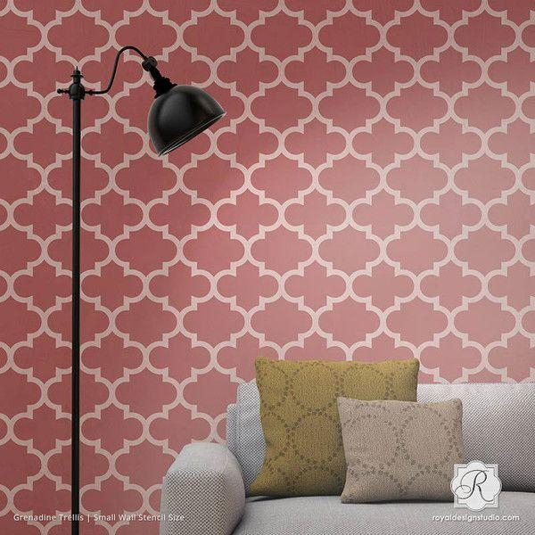 Chic Moroccan Or European Trellis Wallpaper Wall Stencils   Royal Design  Studio