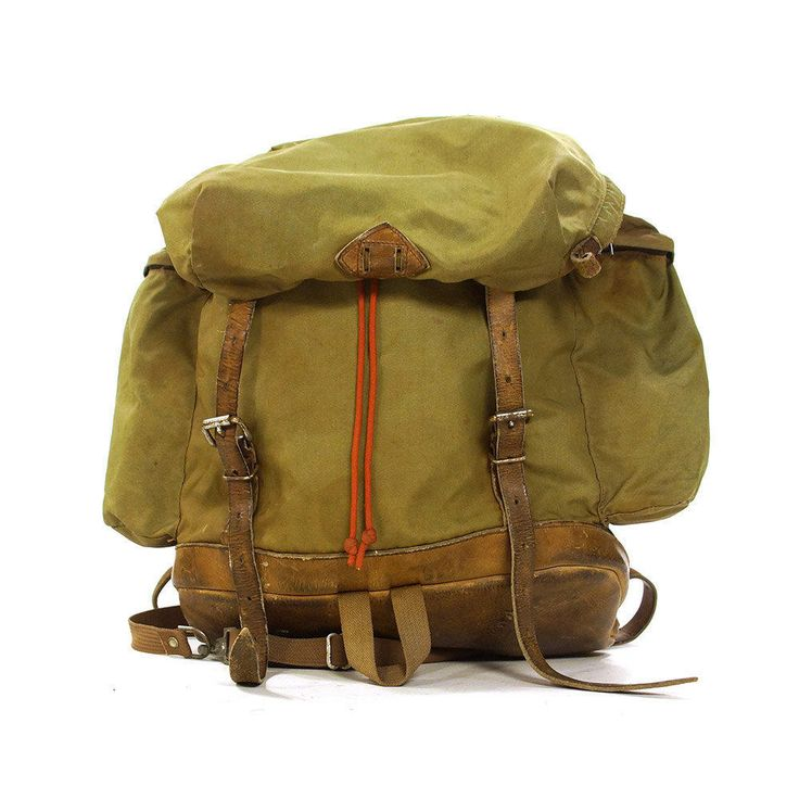 RARE 60s Alp Sport Canvas & Leather Backpack / Vintage 1960s Army Green Military Inspired Camping Hiking Rugged Boho Hipster Rucksack by SpunkVintage
