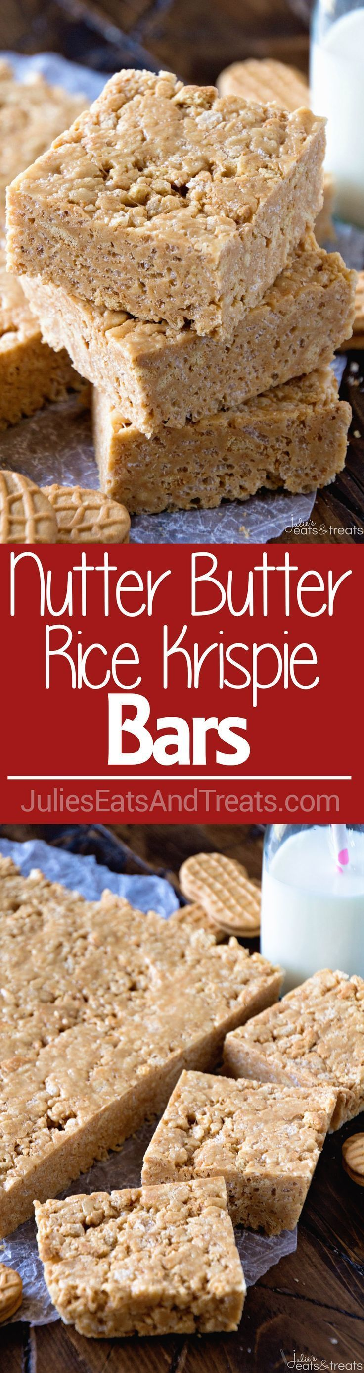 Nutter Butter Rice Krispie Bars Recipe ~ Quick, No Bake Rice Krispies Bars Loaded with Nutter Butter Cookies for the Perfect Peanut Butter Overload!