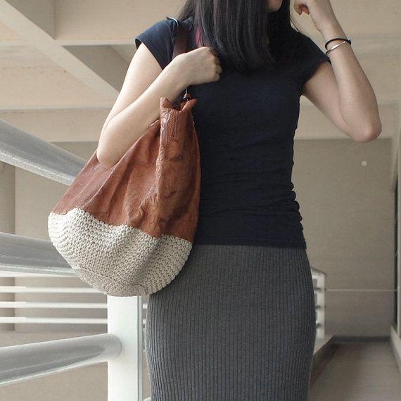 Leather Bag, Handmade Purse, Genuine Leather Shoulder bag, Shopping Bag-H7312