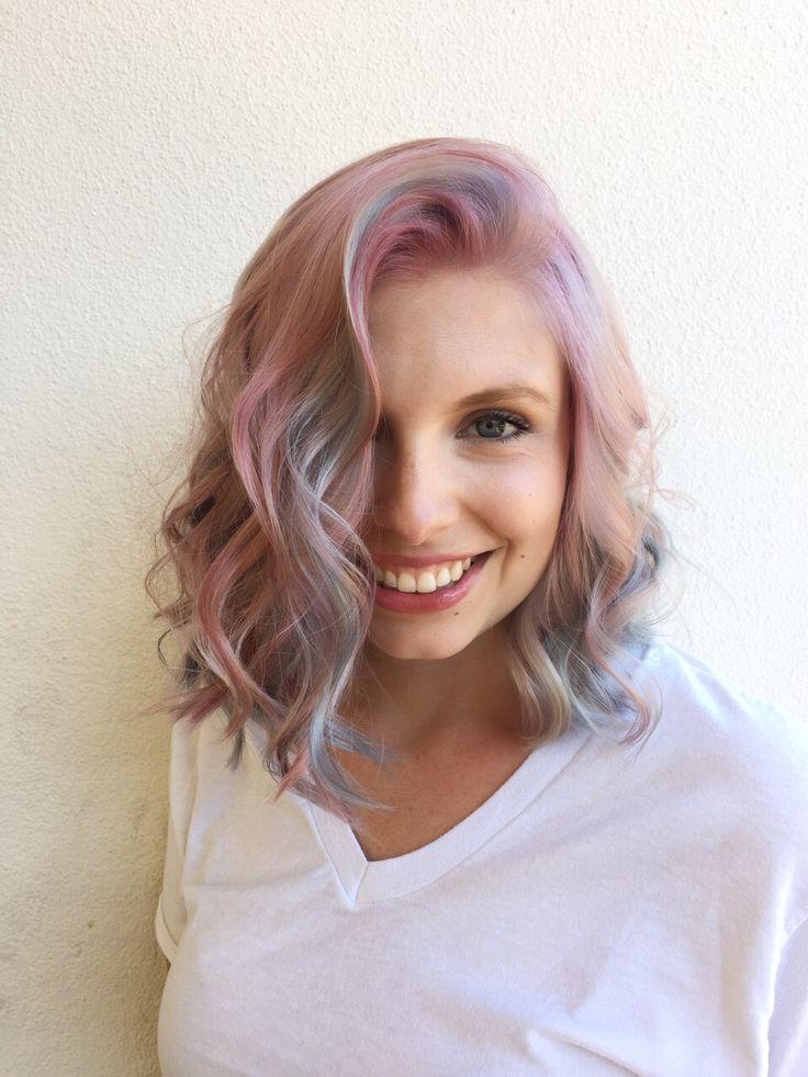 bubblegum pastel pink hair, pastel blue hair, pastel ...