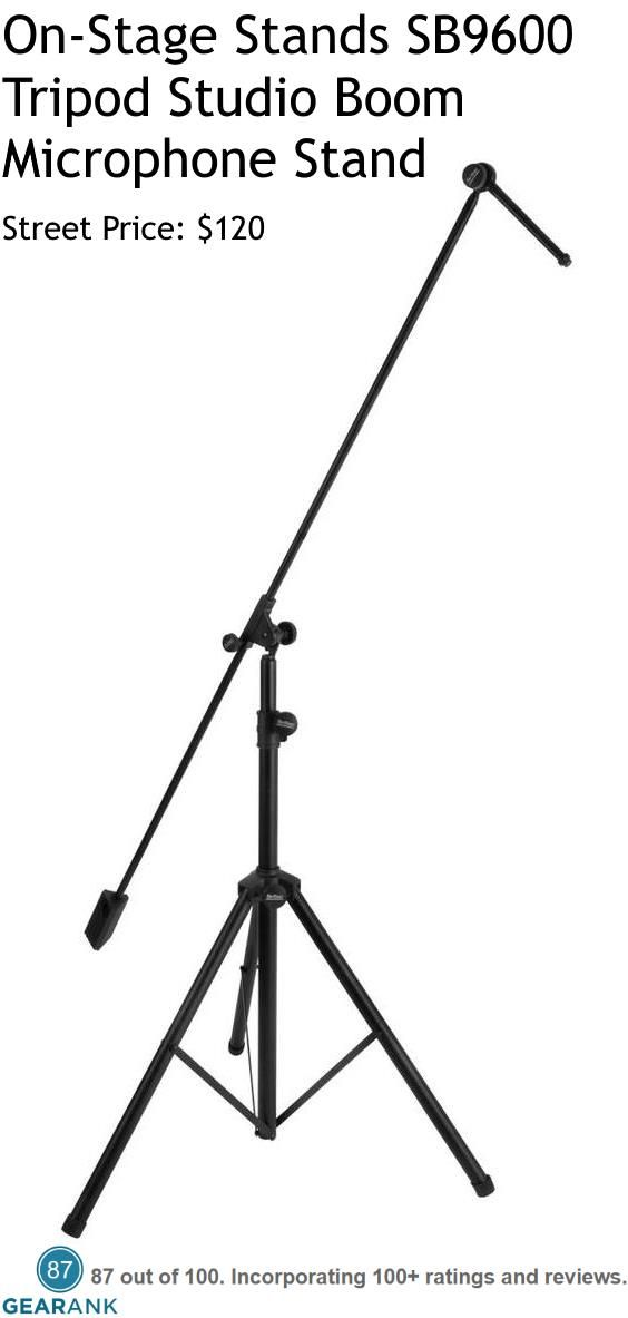 """On-Stage Stands SB9600 Tripod Studio Boom Microphone Stand.  Features: 2 Straight boom shafts totaling 82"""" in length - 7"""" boom extension - 7 lbs. boom counterweight - Height adjusts from 44"""" to 80"""" - Base spread adjusts from 32"""" to 48"""" - Steel tubing - Rubber feet.  For a Detailed Guide to Microphone Stands see https://www.gearank.com/guides/mic-stands"""