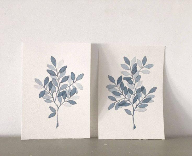 Quiero compartir lo último que he añadido a mi tienda de #etsy: Hojas Azules en rama ACUARELAS ORIGINALES Set de 2 láminas Original watercolor Blue de la colección BOTANICAS decoración