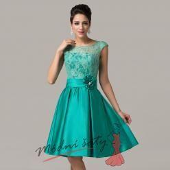 Zelené společenské šaty s květinou