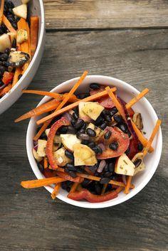 schwarze Bohnen, Salat, Protein, vegan, einfach, Rezept, Paprika, Food Elements