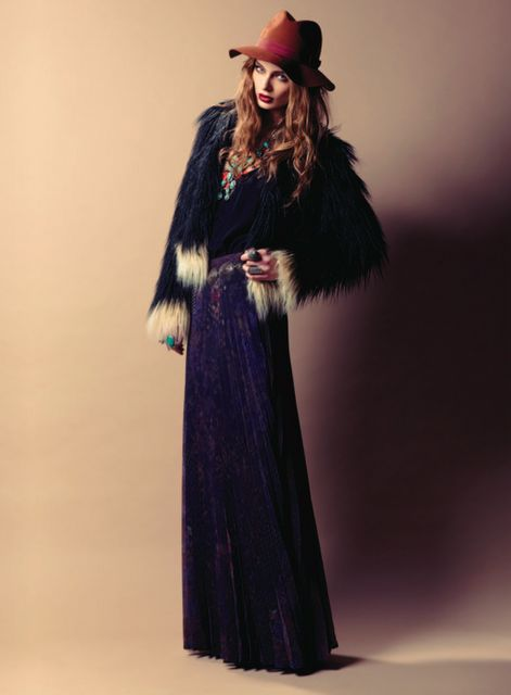 Velvet maxi, fur coat & trilby. Gypsy boho winter threads.
