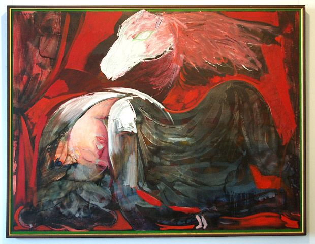 Charles Blackman, Red Nightmare, circa 1977, oil on canvas, 132 x 172cm