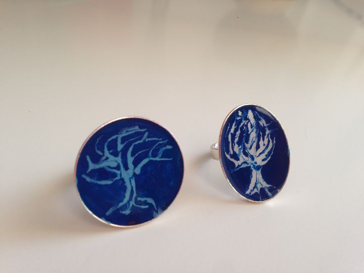 Blue Enamel Rings, Trees