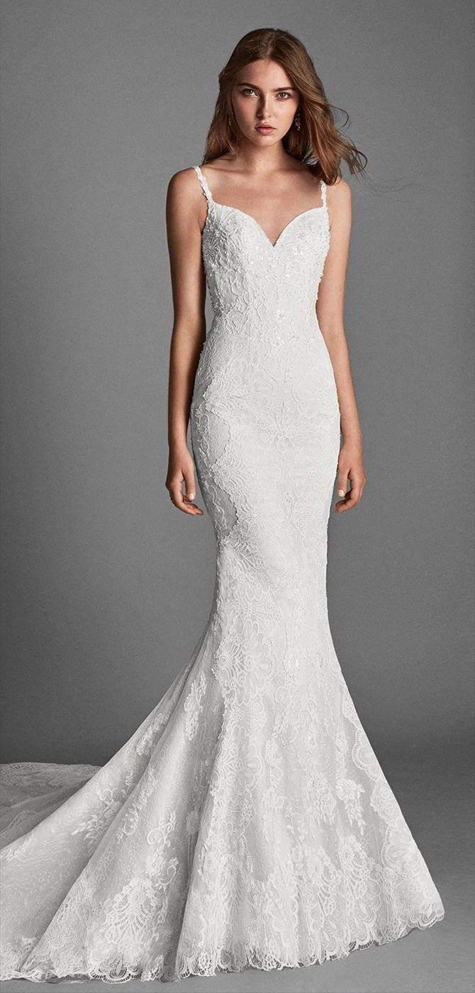 Alma Novia 2018 Mermaid-style beaded lace wedding dress with low back.