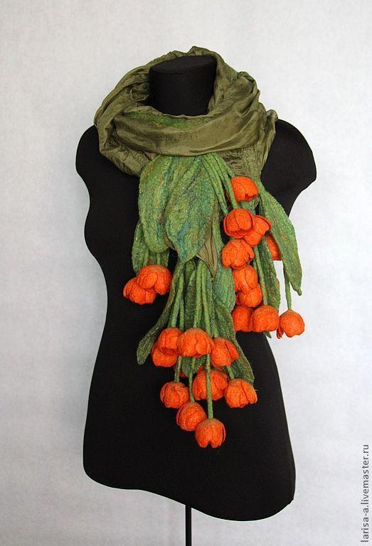 """Купить Валяный палантин """"Оранжевые тюльпаны"""". - зеленый, цветочный, аксессуары, валяный палантин, валяный шарф"""