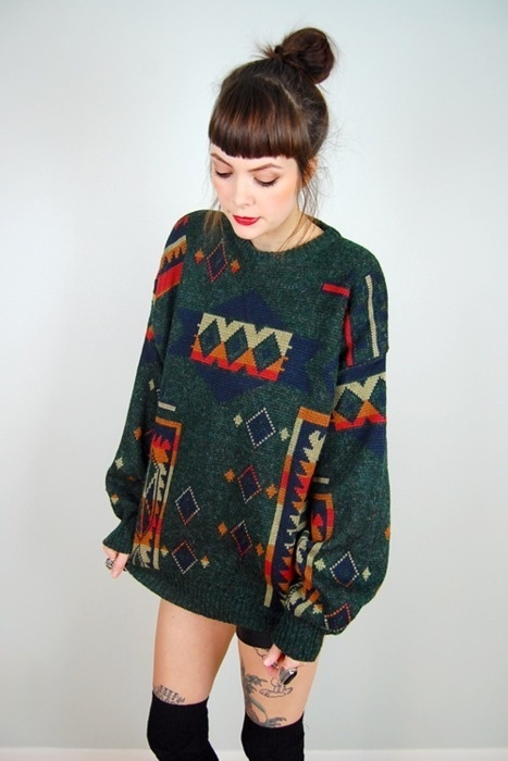 I totally dig the long socks and huge sweater combo!