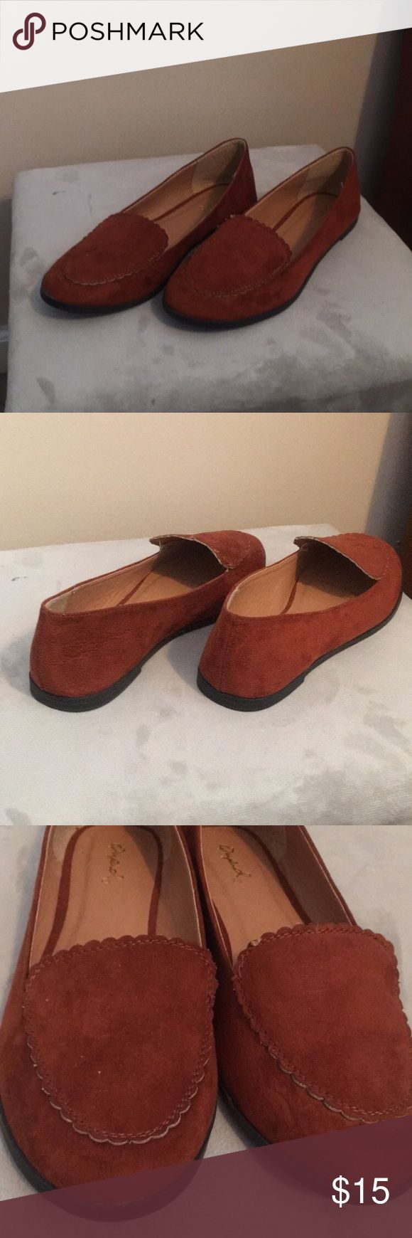 Brown suede loafers Never worn, scalloped detail on top of shoe, NWT, brown shoe with black soles Qupid Shoes Flats & Loafers
