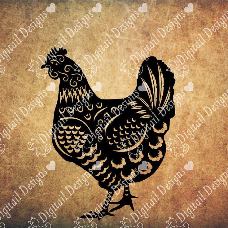 chicken svg - png - dxf - eps - fcm - ai - cut file - silhouette - cricut
