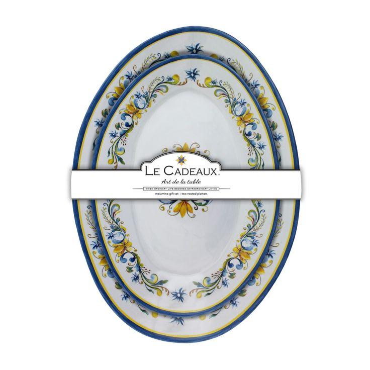 Le Cadeaux 2PC Floral Harvest Melamine Nesting Platter Set
