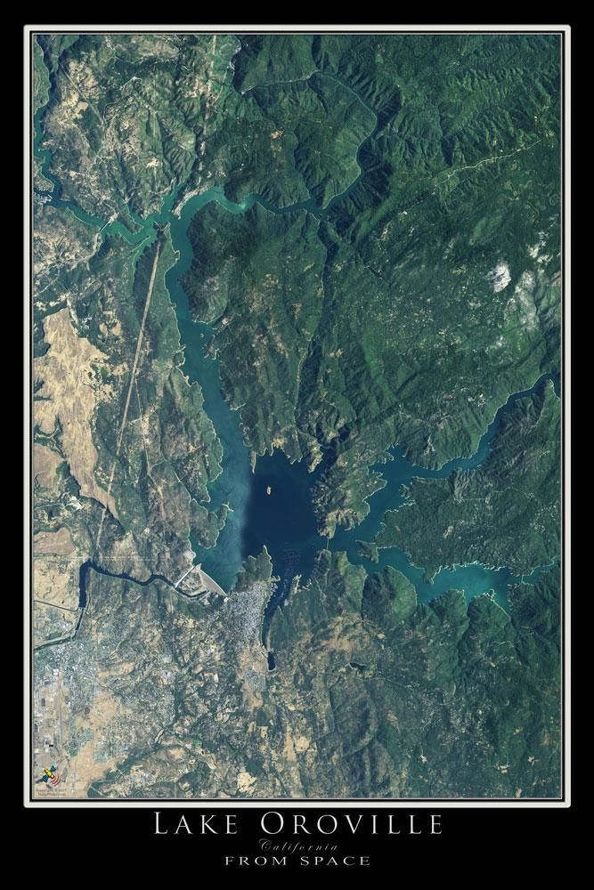 Lake Oroville California Satellite Poster Map Vacations Tips