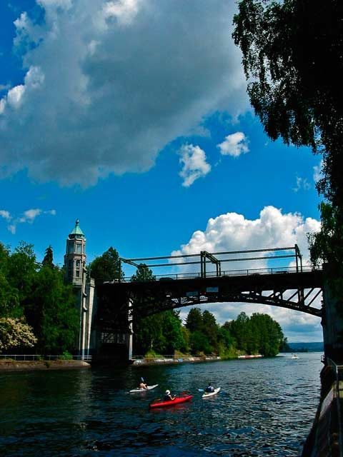 Kayaks under the Montlake Bridge, University of Washington, Lake Union, Lake Washington, Seattle, WA