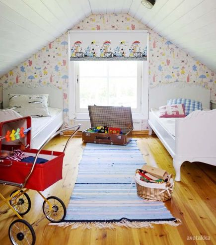 attic bedroom accent wall - kid's room with childrens theme wallpaper and window shade - avotakka via atticmag