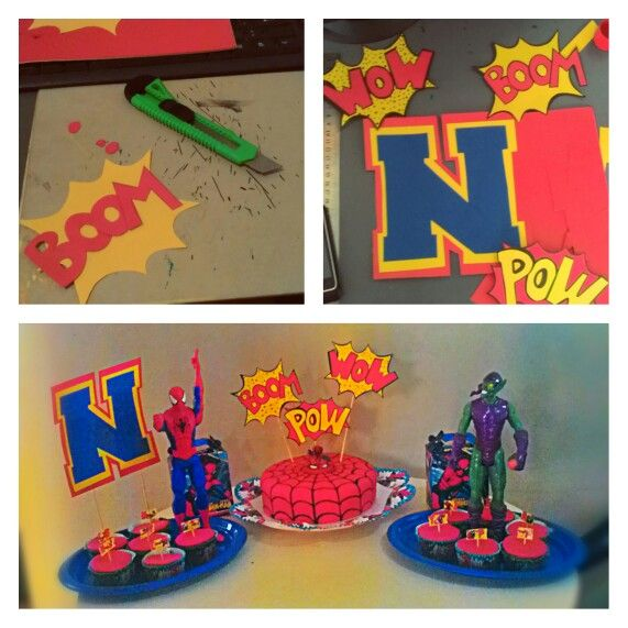 Spiderman Cake & Cupcakes. If you want recipes or help for do your own cake, let me know and i will help you!