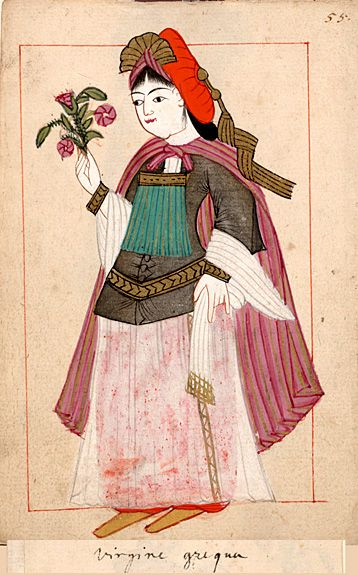 """Greek girl  """"Virgine grequa"""". The 'Rålamb Costume Book' is a small volume containing 121 miniatures in Indian ink with gouache and some gilding, displaying Turkish officials, occupations and folk types. They were acquired in Constantinople in 1657-58 by Claes Rålamb who led a Swedish embassy to the Sublime Porte, and arrived in the Swedish Royal Library / Manuscript Department in 1886."""